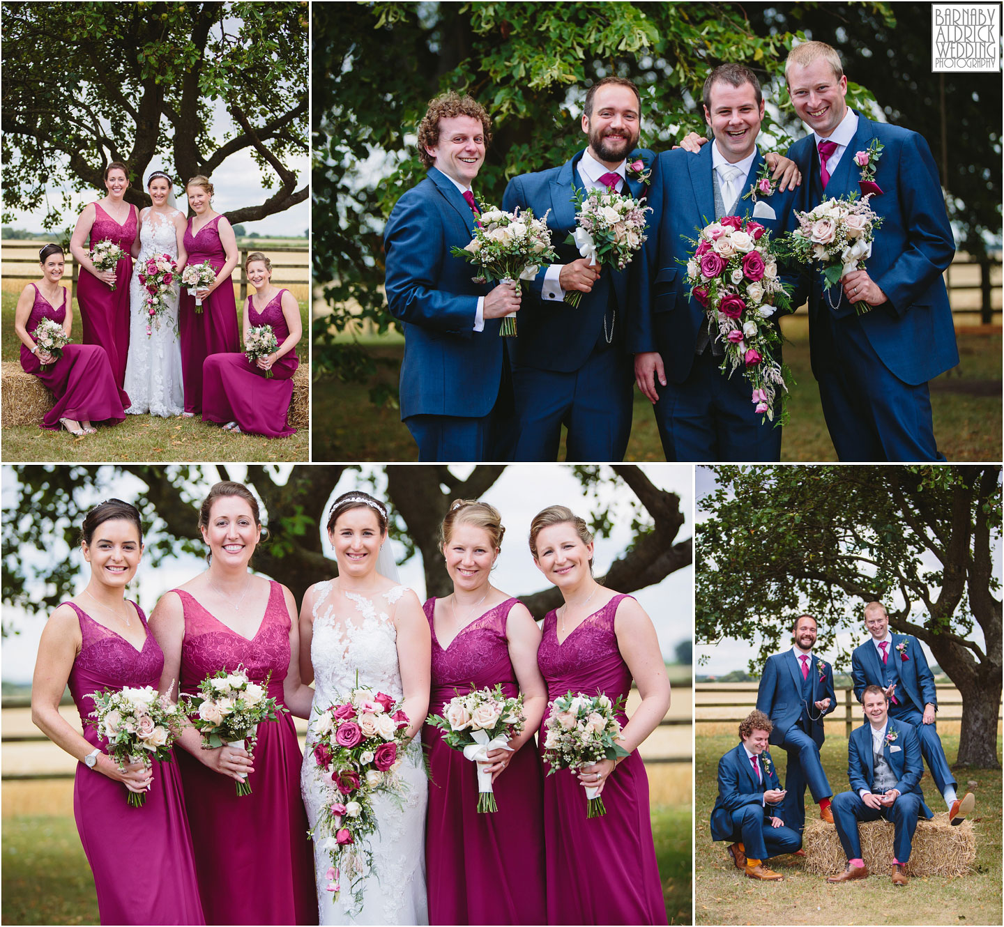 Bridal party portraits at at Barmbyfields Barn wedding venue near York