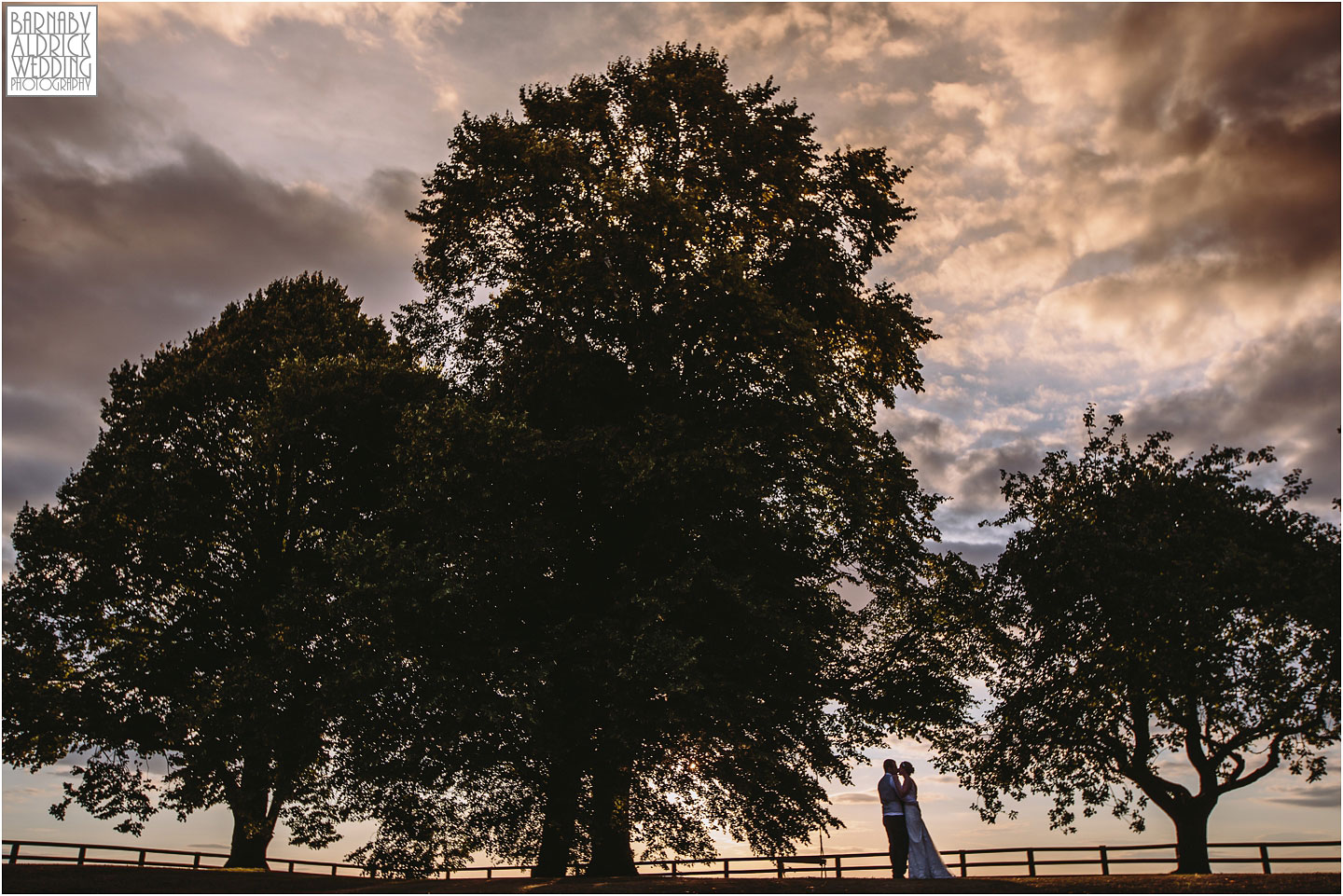Sunset wedding portait at Barmbyfields Barn wedding venue near York