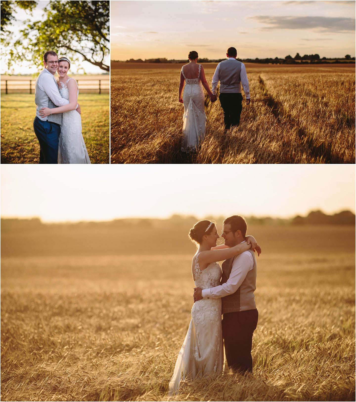 Wedding golden hour photos at Barmbyfields Barn wedding venue near York