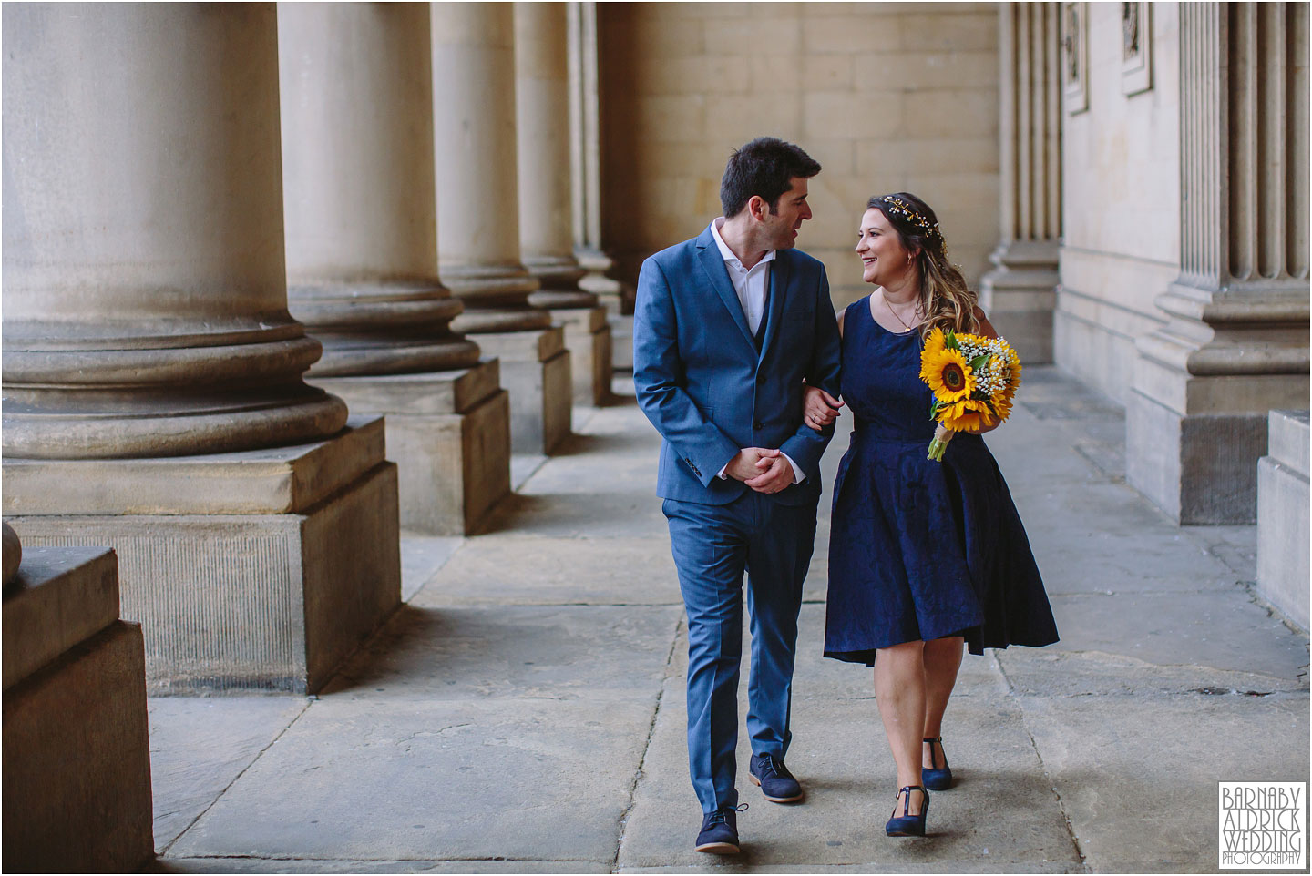 Wedding portraits at Leeds Town Hall portico