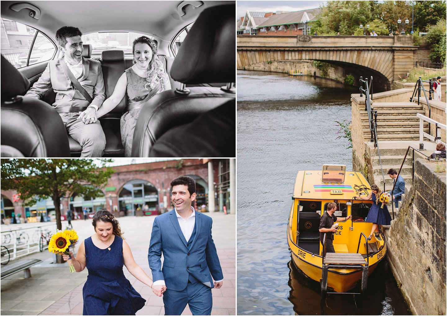 Wedding Photography on the River Aire Water Taxi in Leeds