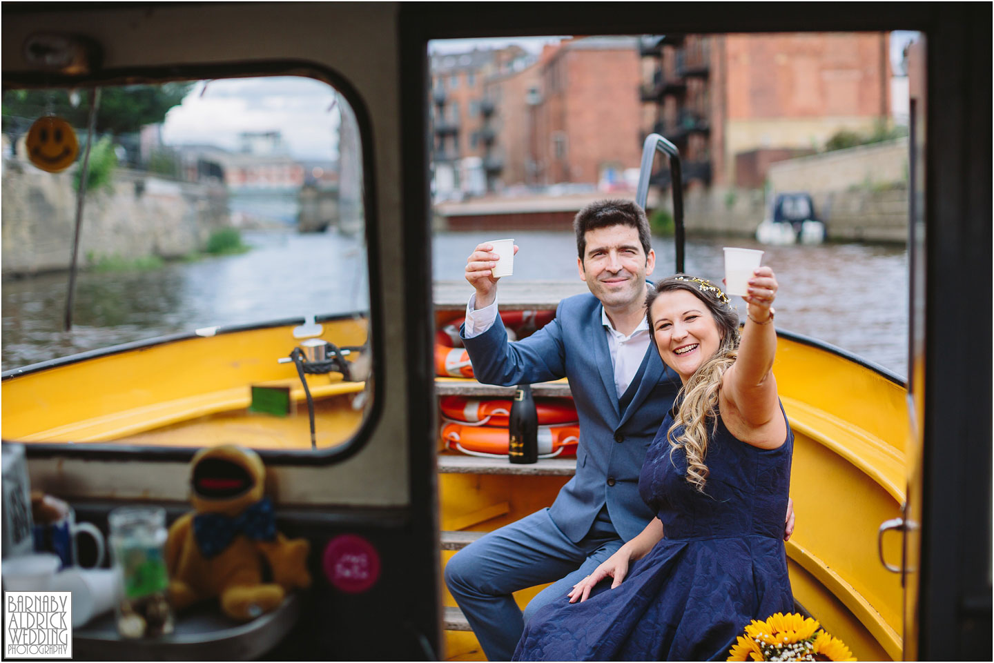 Leeds River Aire water taxi Wedding Photos