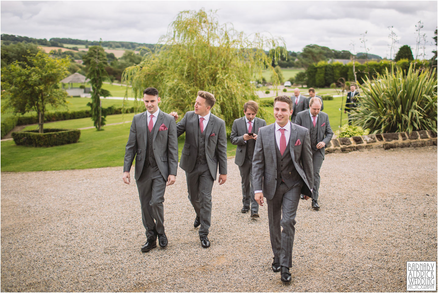 Groomsmen natural wedding photo at Yorkshire Wedding Barn near Richmond