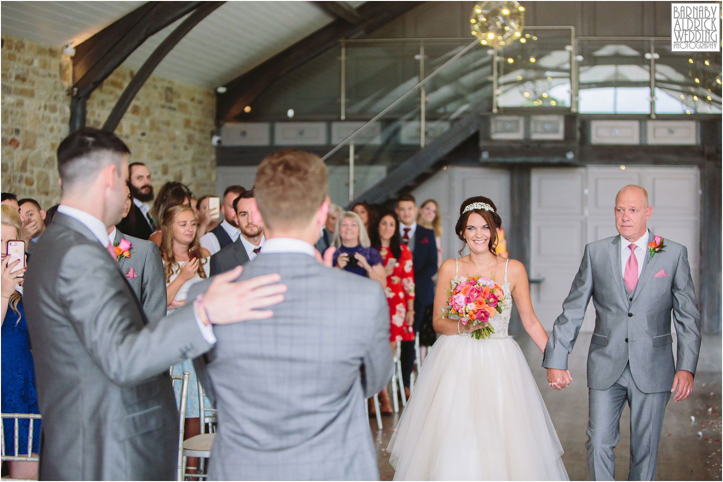 Tears at seeing the bride for the first time at Yorkshire Wedding Barn near Richmond