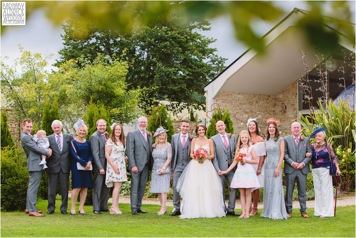 Family group photos at at Yorkshire Wedding Barn near Richmond