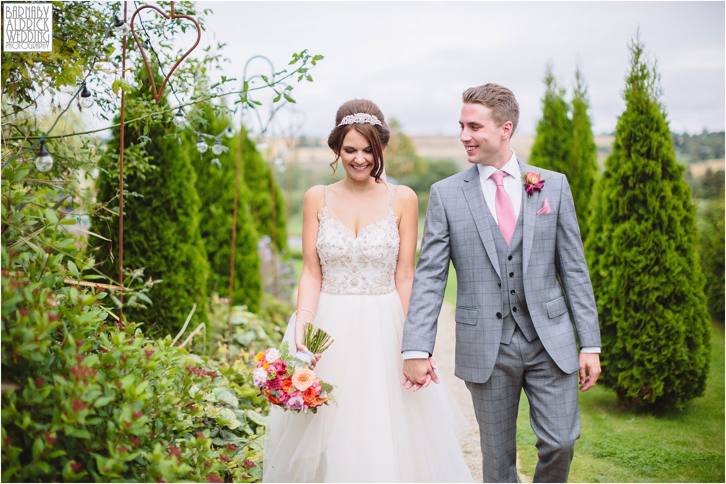 Relaxed Wedding portraits at Yorkshire Wedding Barn in Gilling West near Richmond