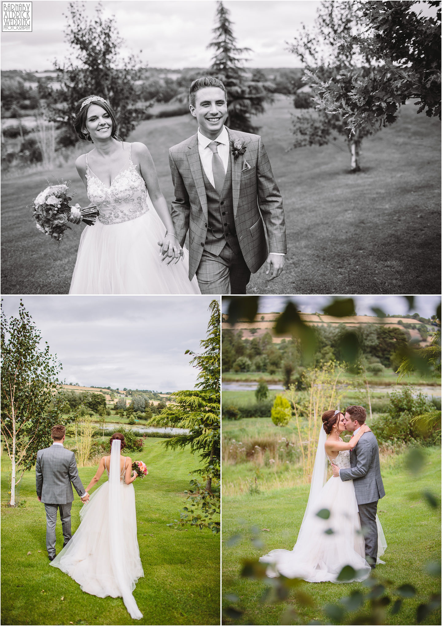 Relaxed wedding couple portraits at Yorkshire Wedding Barn near Richmond