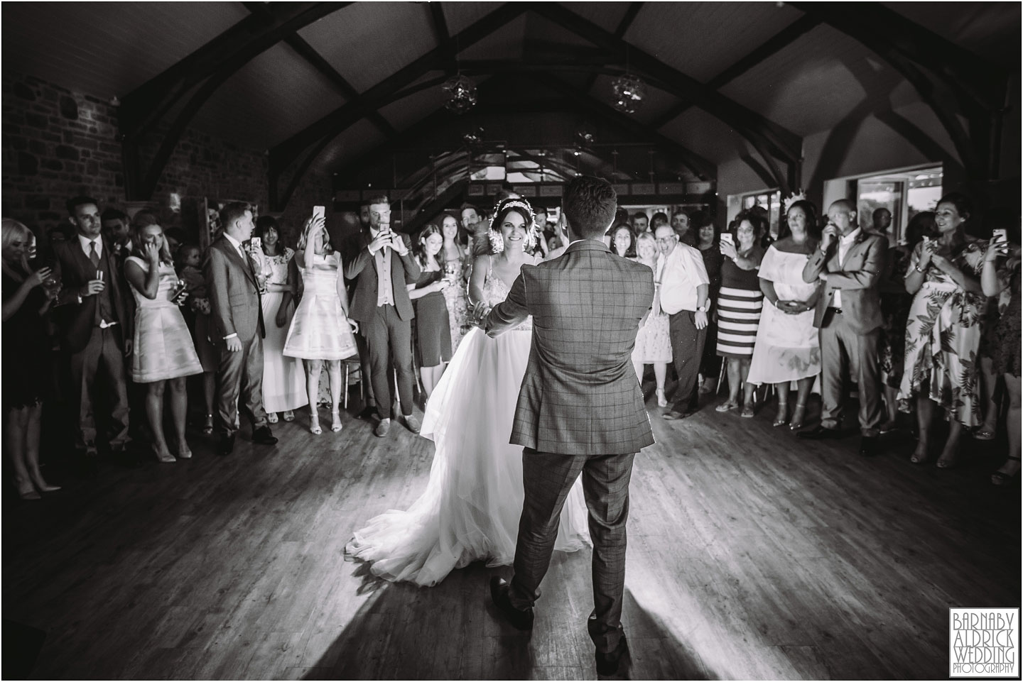 First dance flash photo at Yorkshire Wedding Barn near Richmond