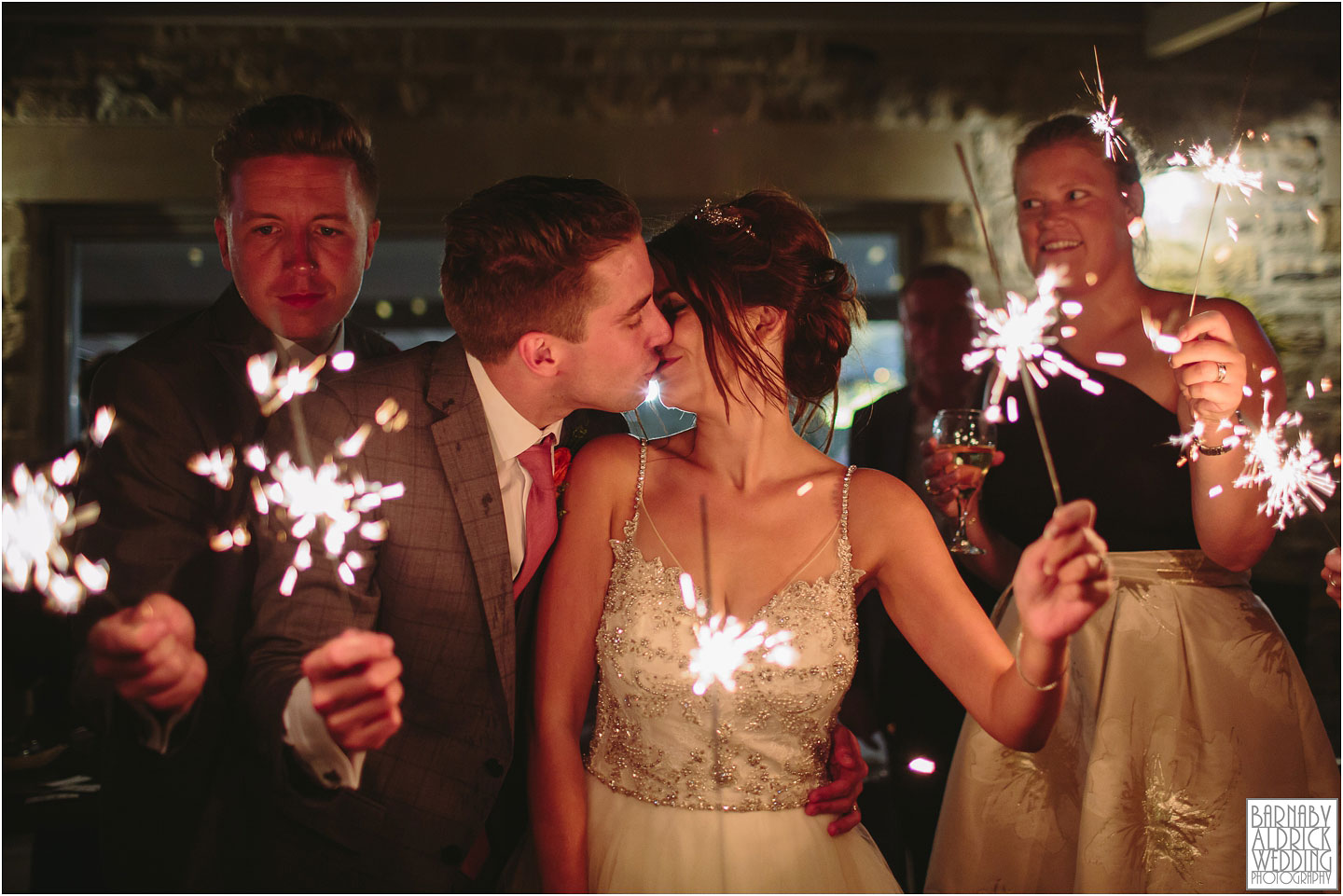 Sparklers at Gilling Old Mill Barn Yorkshire Wedding Barn near Richmond in Yorkshire