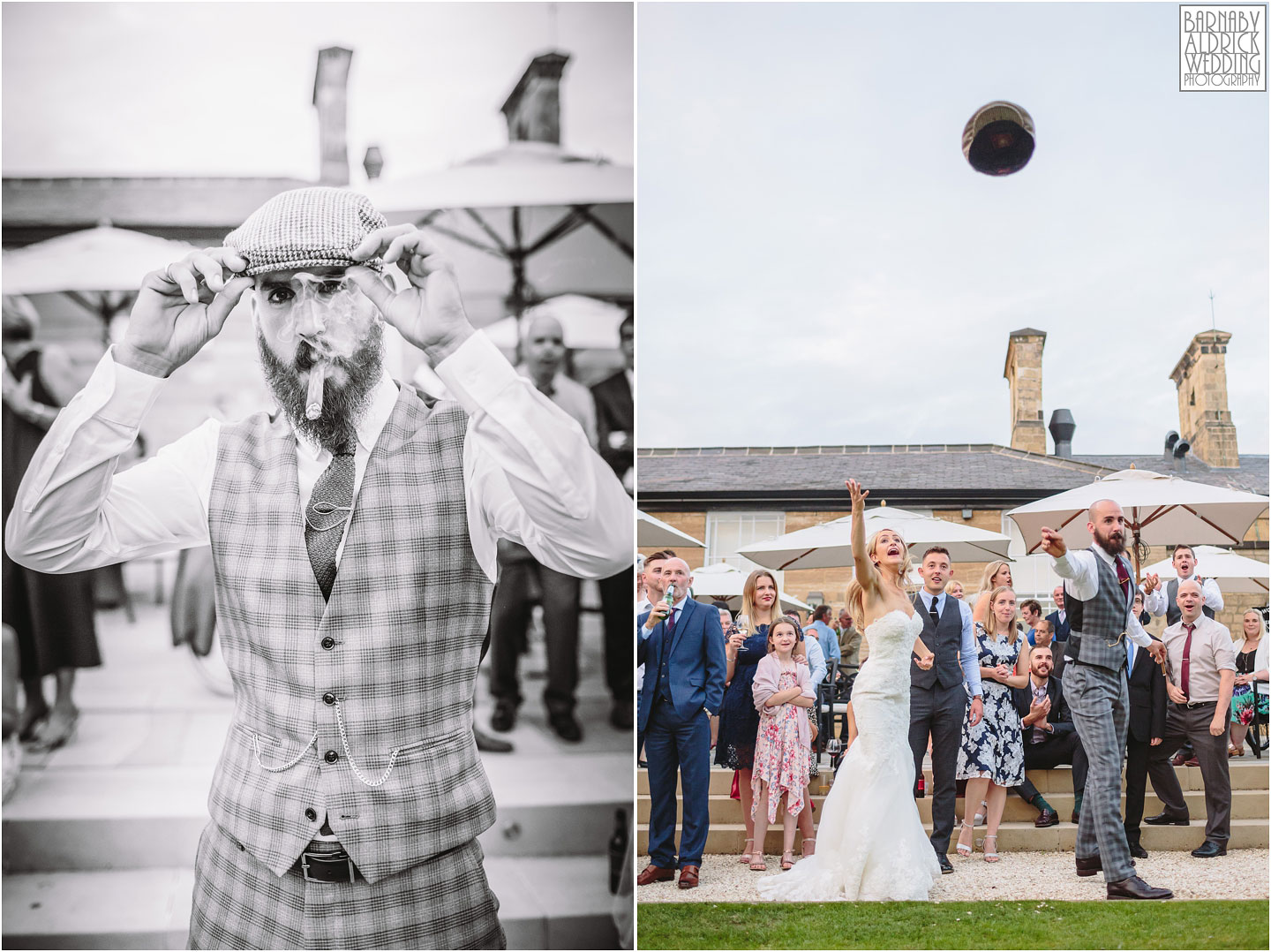 Wedding couple flat cap throwing competition at Bowcliffe Hall