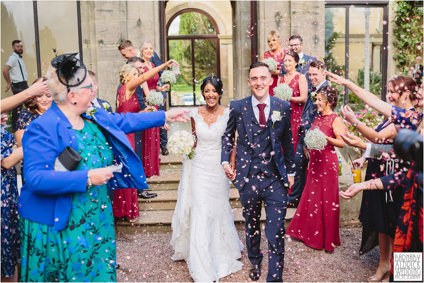 Confetti Wedding photograph at Sandon Hall in Staffordshire, Sandon Hall Stafford wedding photos, Midlands exclusive country house wedding venue