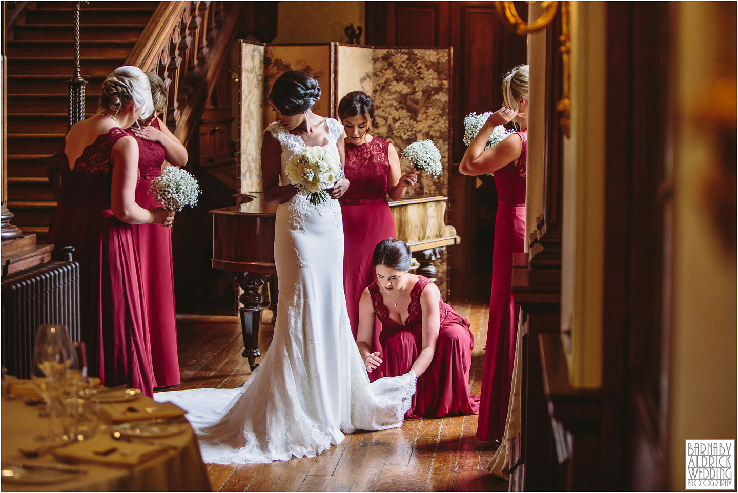 A bride prepares for entering the wedding at Sandon Hall, Sandon Hall Wedding photographs in Staffordshire, Sandon Hall Stafford wedding photos, Midlands exclusive country house wedding venue