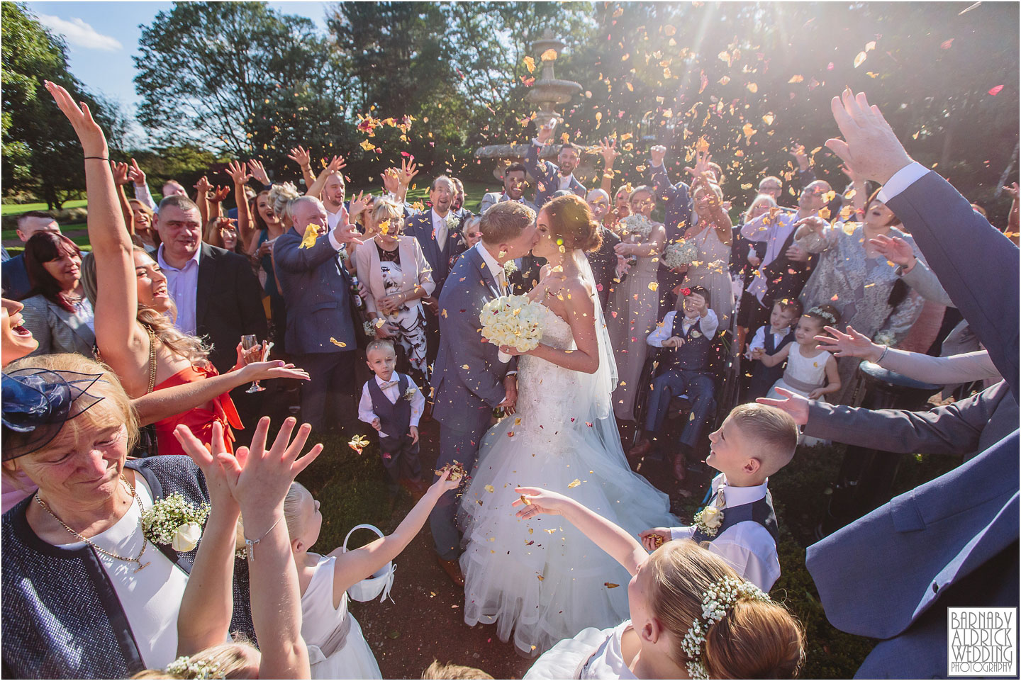 Oulton Hall Confetti, autumn wedding photo at Oulton Hall, Leeds wedding venues, West Yorkshire wedding hotels