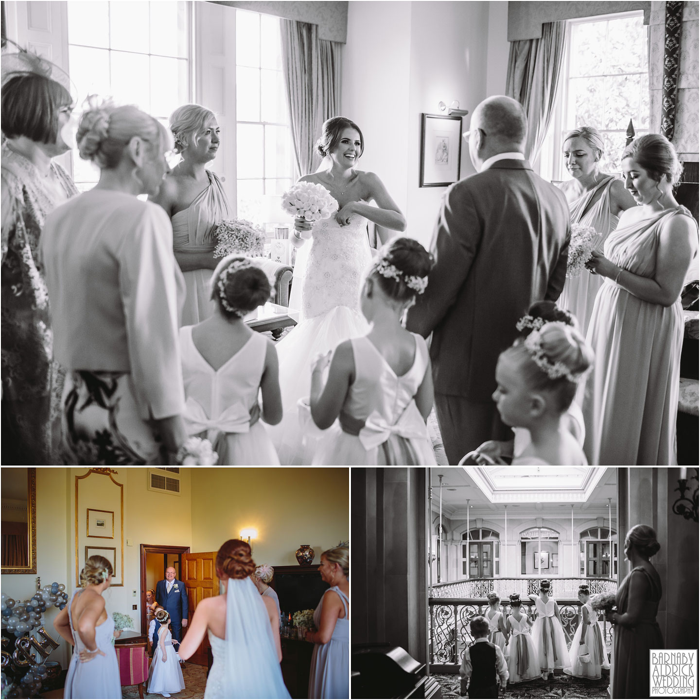 Dad sees his daughter at her oulton Hall wedding in Yorkshire