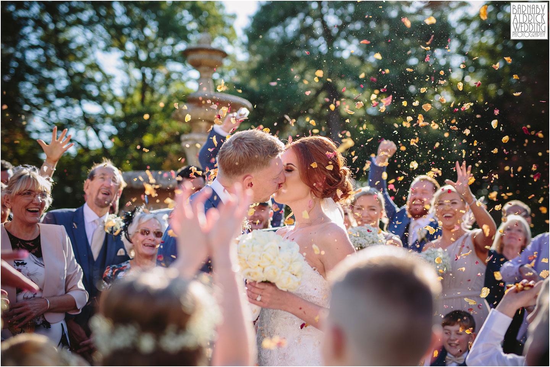Oulton Hall wedding confetti photographer, autumn wedding photo at Oulton Hall, Leeds wedding venues, West Yorkshire wedding hotels