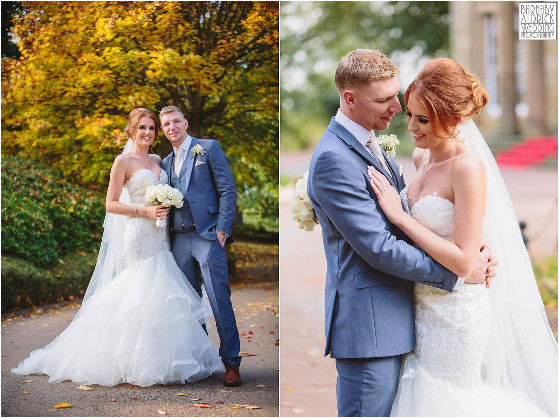 Oulton Hall autumn wedding portraits, autumn wedding photo at Oulton Hall, Leeds wedding venues, West Yorkshire wedding hotels