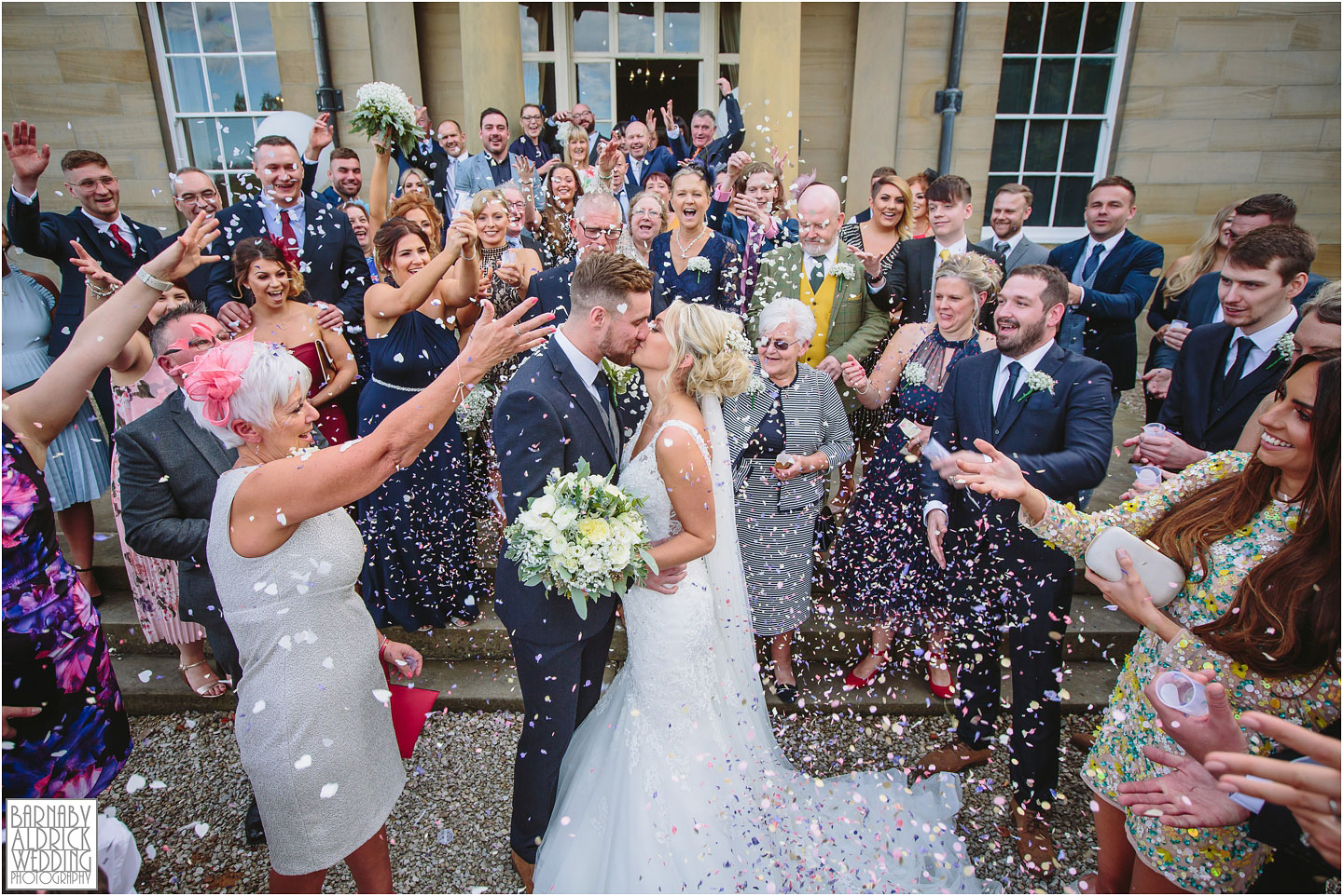 Confetti photo at Saltmarshe Hall Wedding Photos, Wedding photography at Saltmarshe Hall, East Yorkshire Wedding Photos
