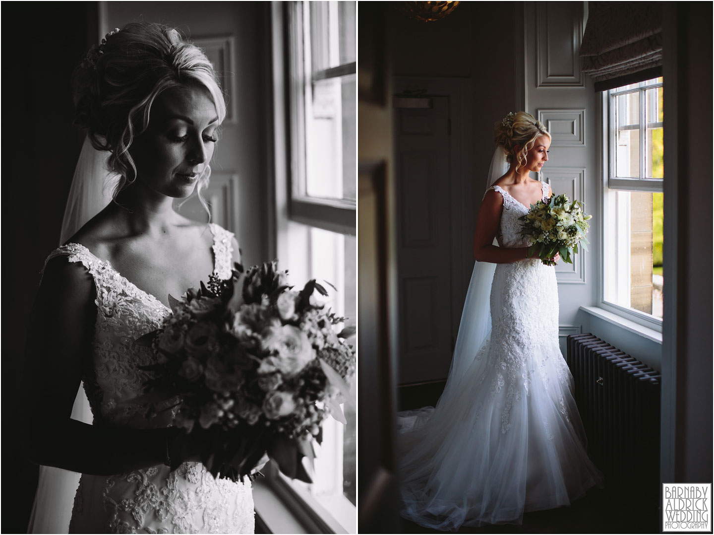 Beautiful bridal window photo at Saltmarshe Hall Wedding Photos, Wedding photography at Saltmarshe Hall, East Yorkshire Wedding Photos