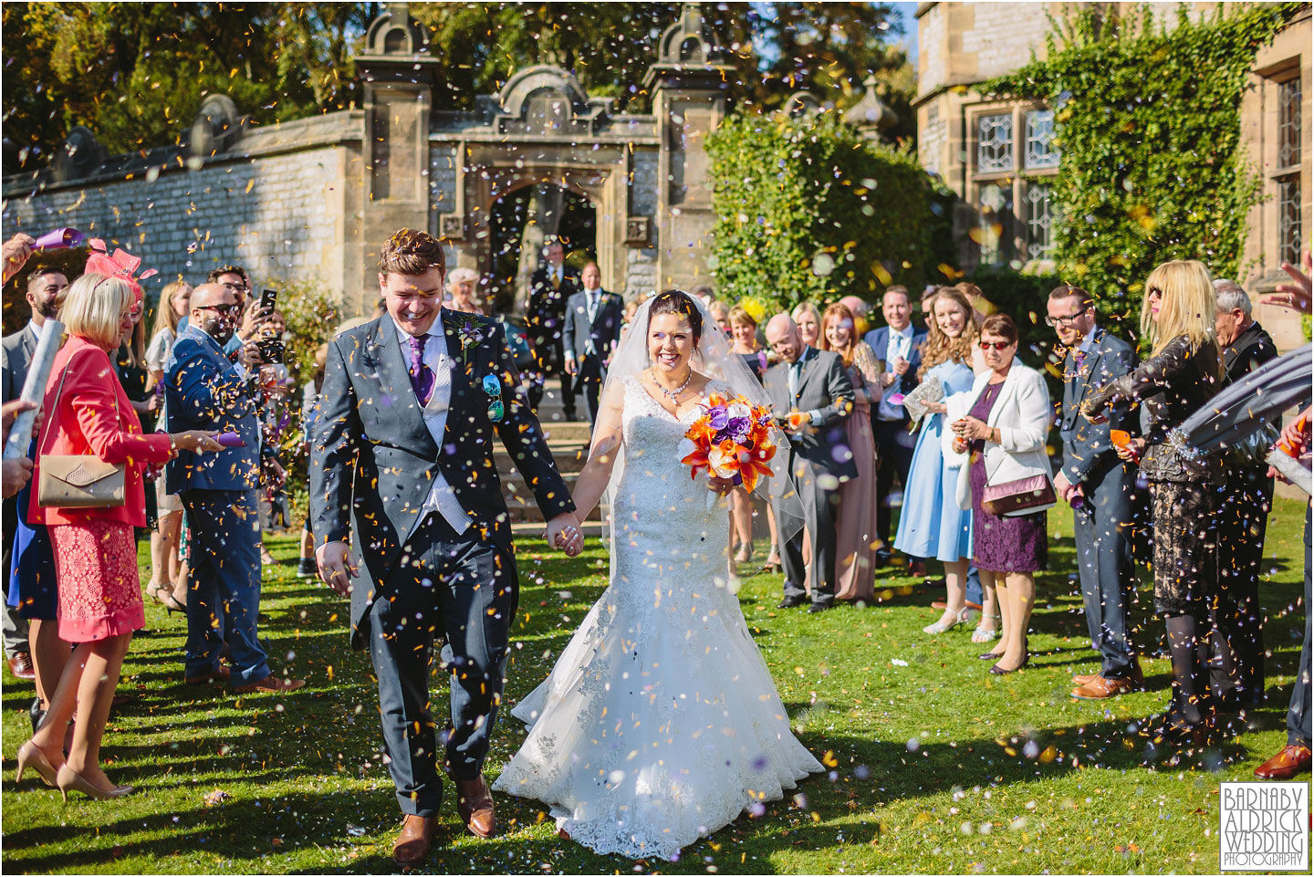 Wedding confetti at Thornbridge Hall Derbyshire Wedding Photos, Thornbridge Hall Wedding Photography, Autumnal Derbyshire Wedding, Derbyshire Wedding Photographer