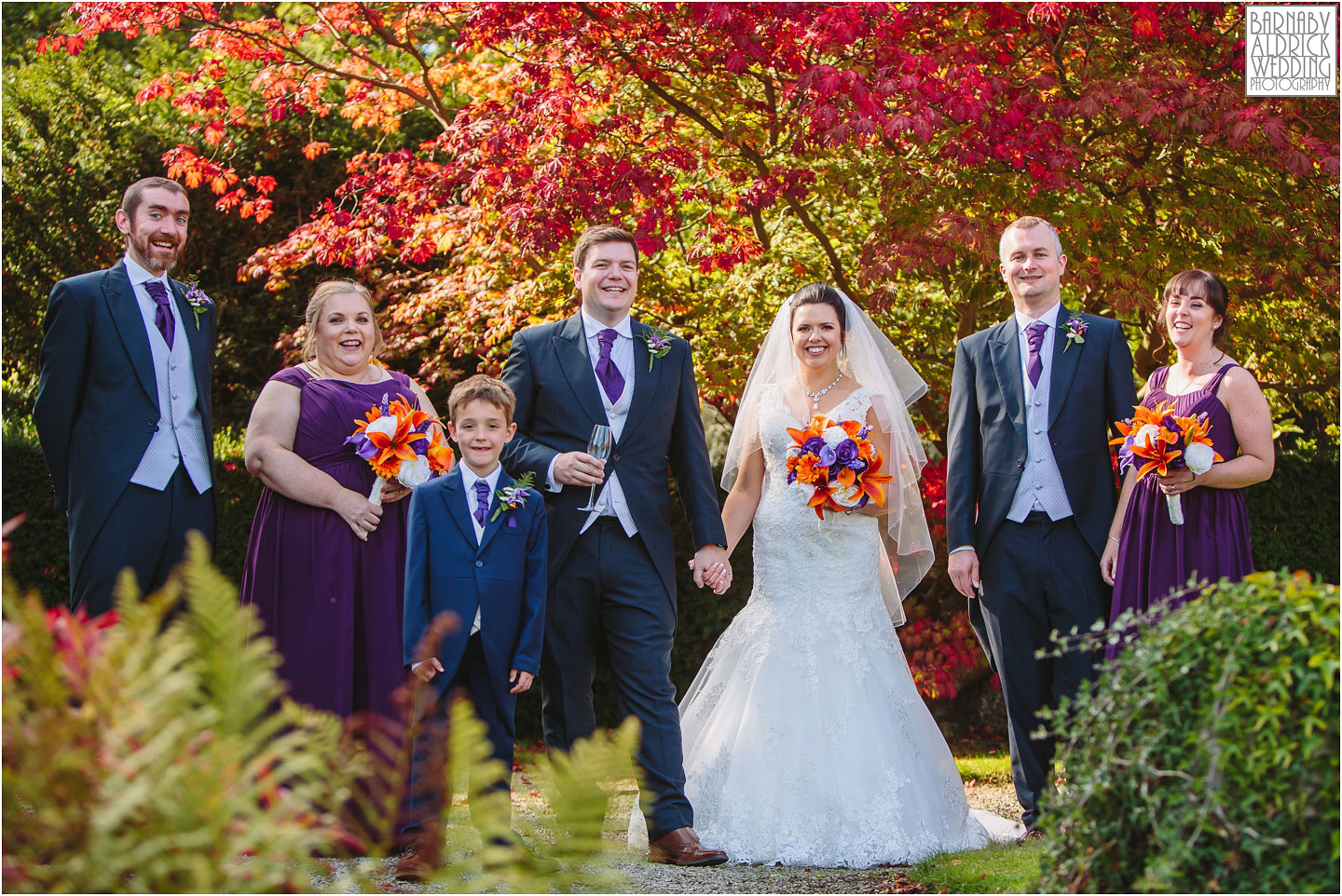 Autumnal Wedding party photos at Thornbridge Hall Derbyshire Wedding Photos, Thornbridge Hall Wedding Photography, Autumnal Derbyshire Wedding, Derbyshire Wedding Photographer