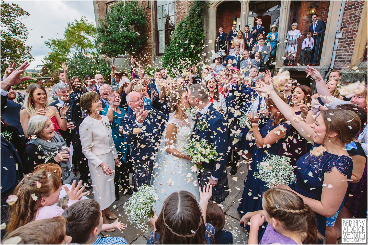 Confetti Wedding Photo at Rowton Caste Wedding Photos, Shropshire Wedding Photographer, Shrewsbury wedding venue, Amazing UK Castle Wedding