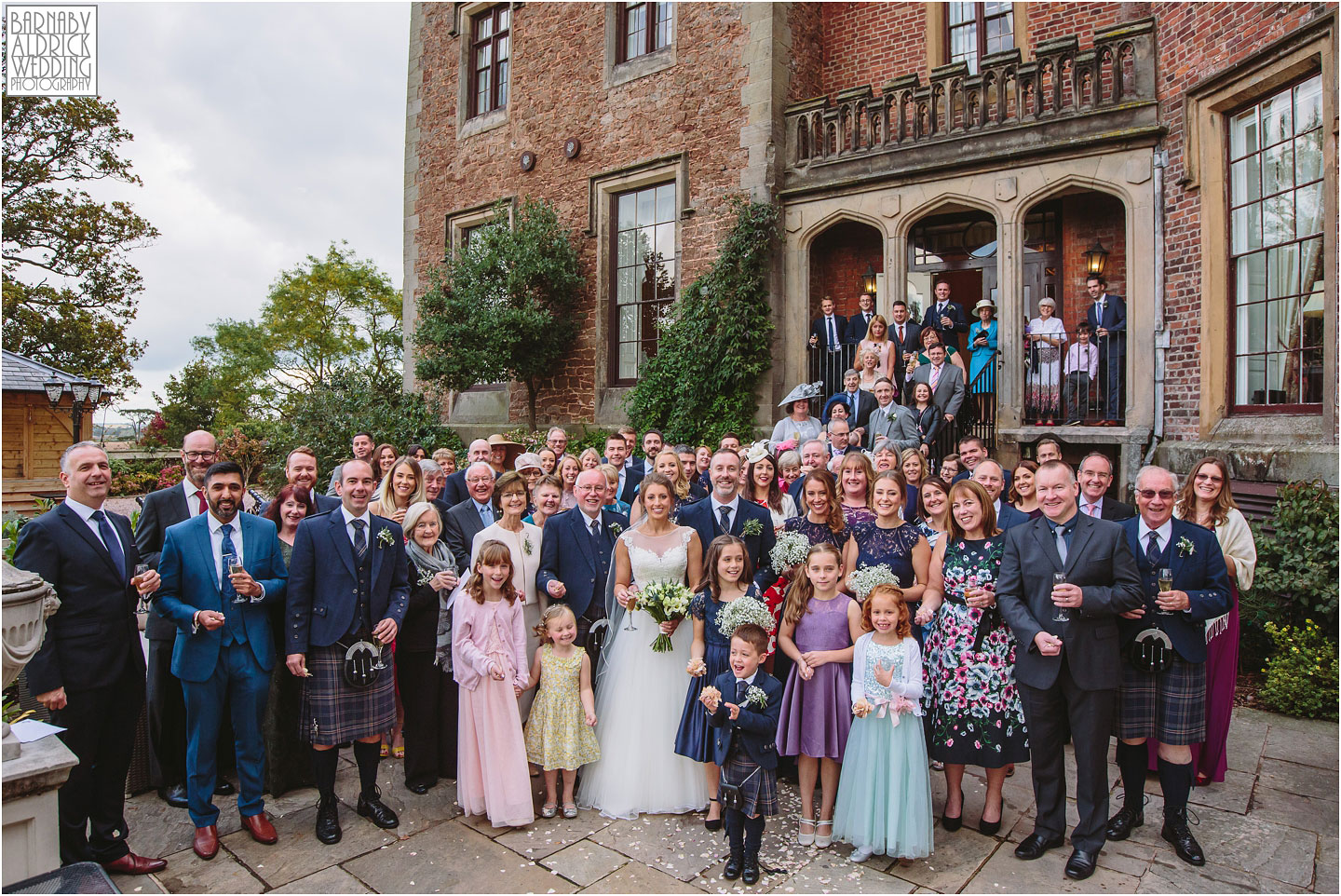 Group photo at Rowton Castle, Shropshire Wedding Photographer, Shrewsbury wedding venue, Amazing UK Castle Wedding