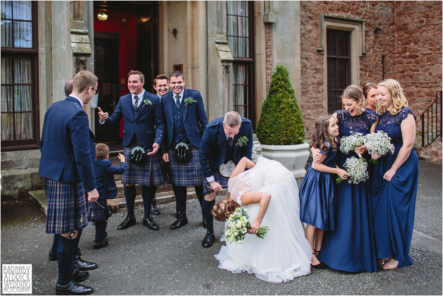Fun kilt wedding photo, Rowton Castle, Shropshire Wedding Photographer, Shrewsbury wedding venue, Amazing UK Castle Wedding