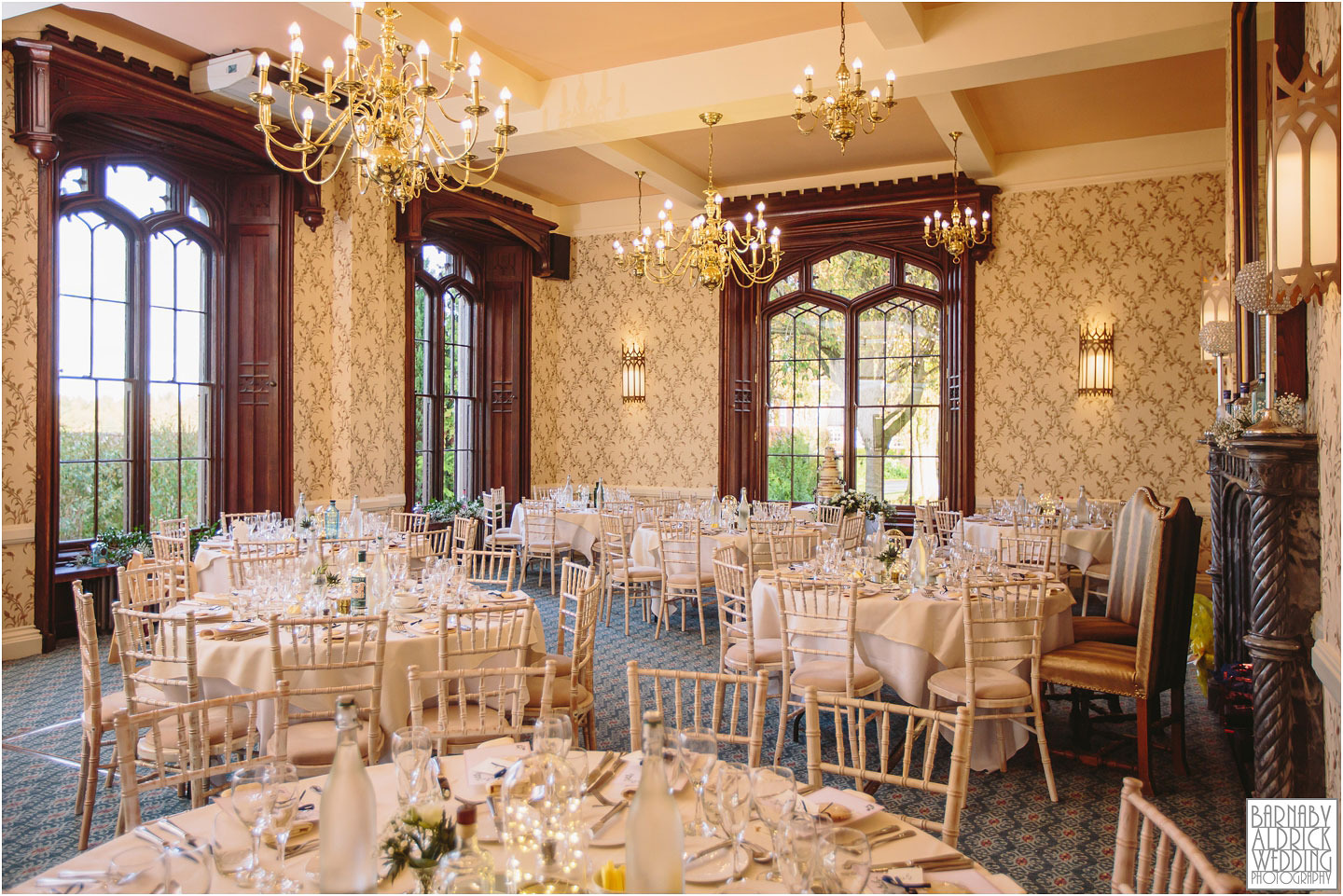 Wedding breakfast venue details at a Rowton Castle wedding, Shropshire Wedding Photographer, Shrewsbury wedding venue, Amazing UK Castle Wedding