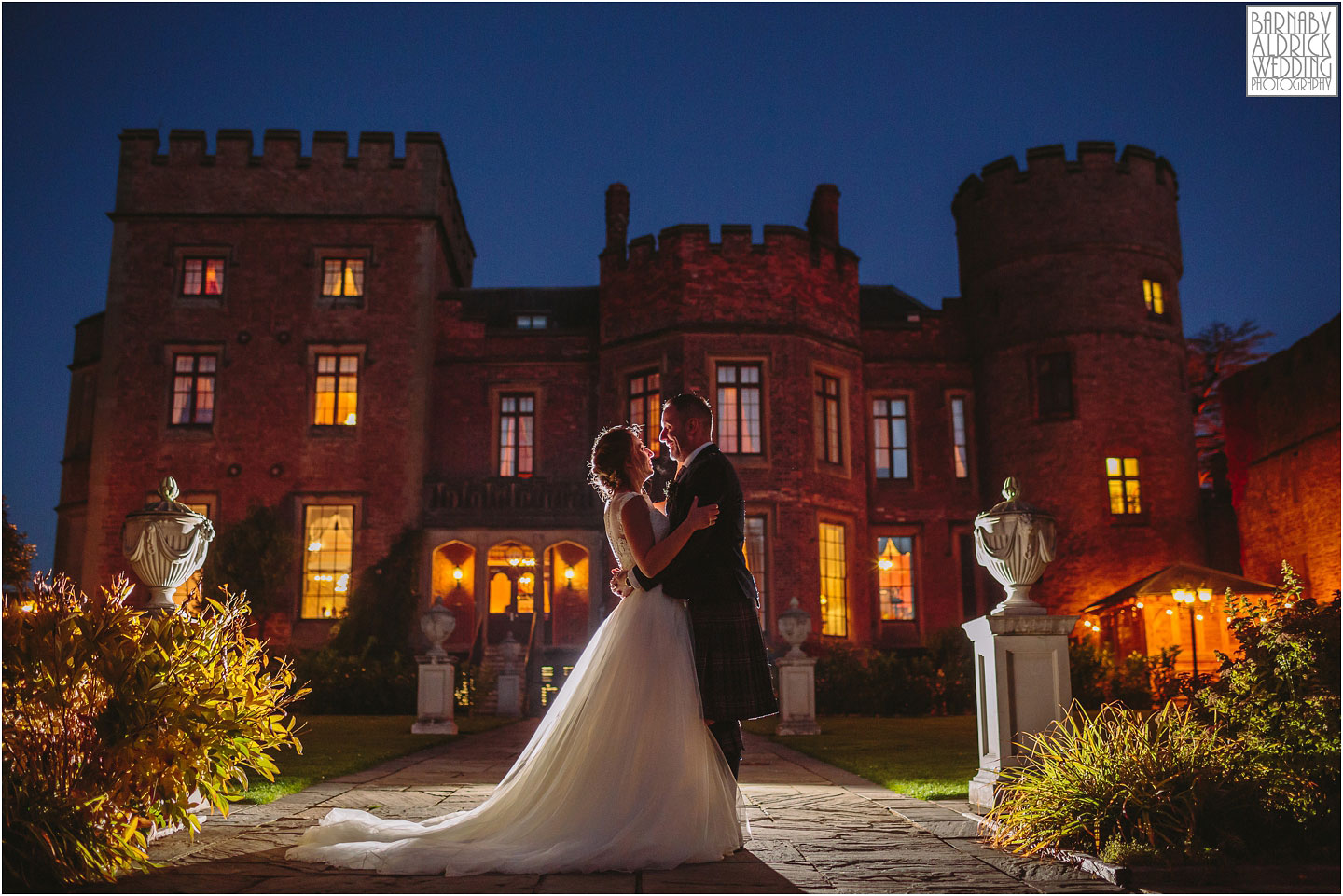 Evening flash couple portraits at a wedding at Rowton Castle, Shropshire Wedding Photographer, Shrewsbury wedding venue, Amazing UK Castle Wedding