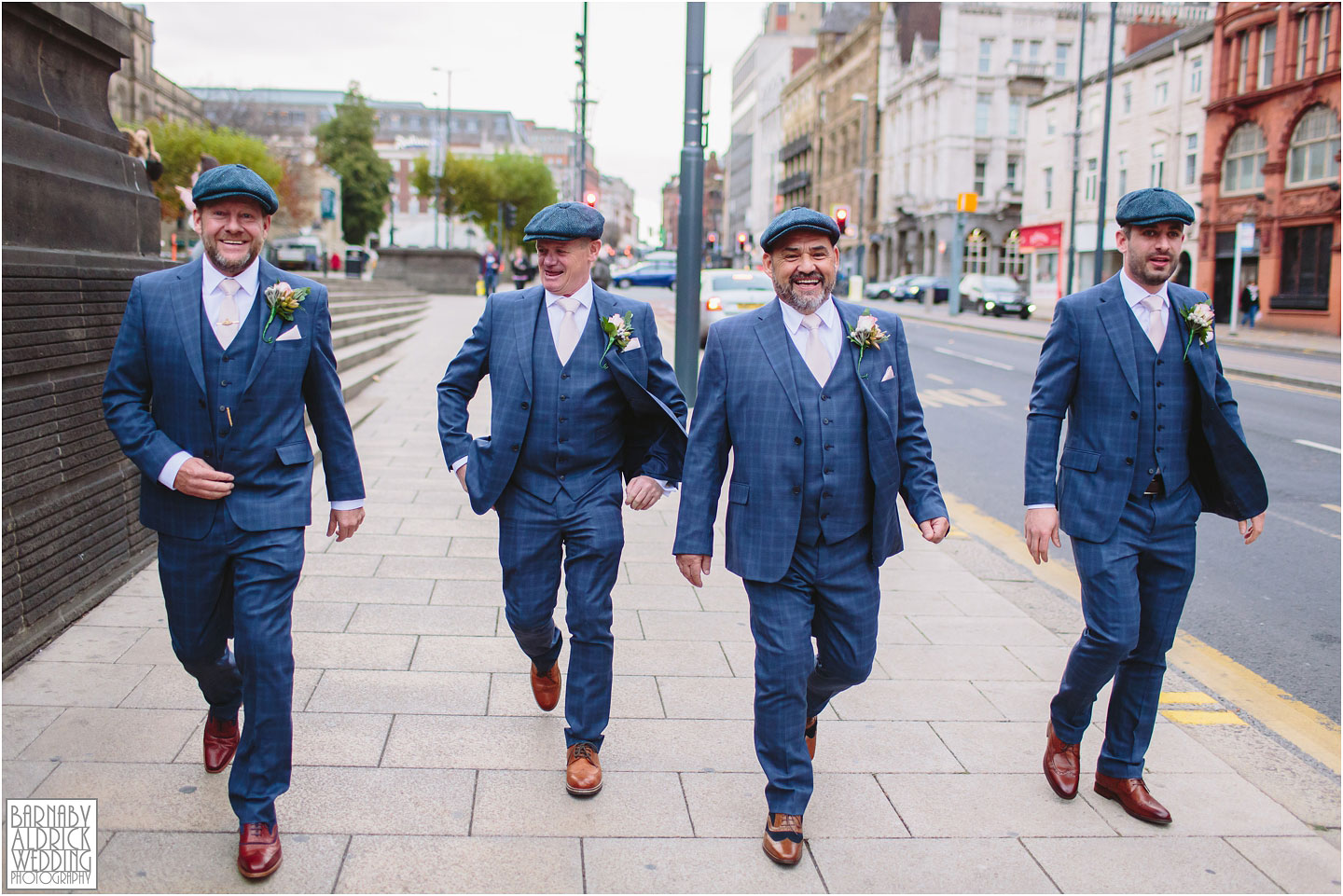 Peaky Blinders wedding at Leeds Town Hall in West Yorkshire, Peaky blinders themed groomsmen, Yorkshire Peaky Blinders wedding