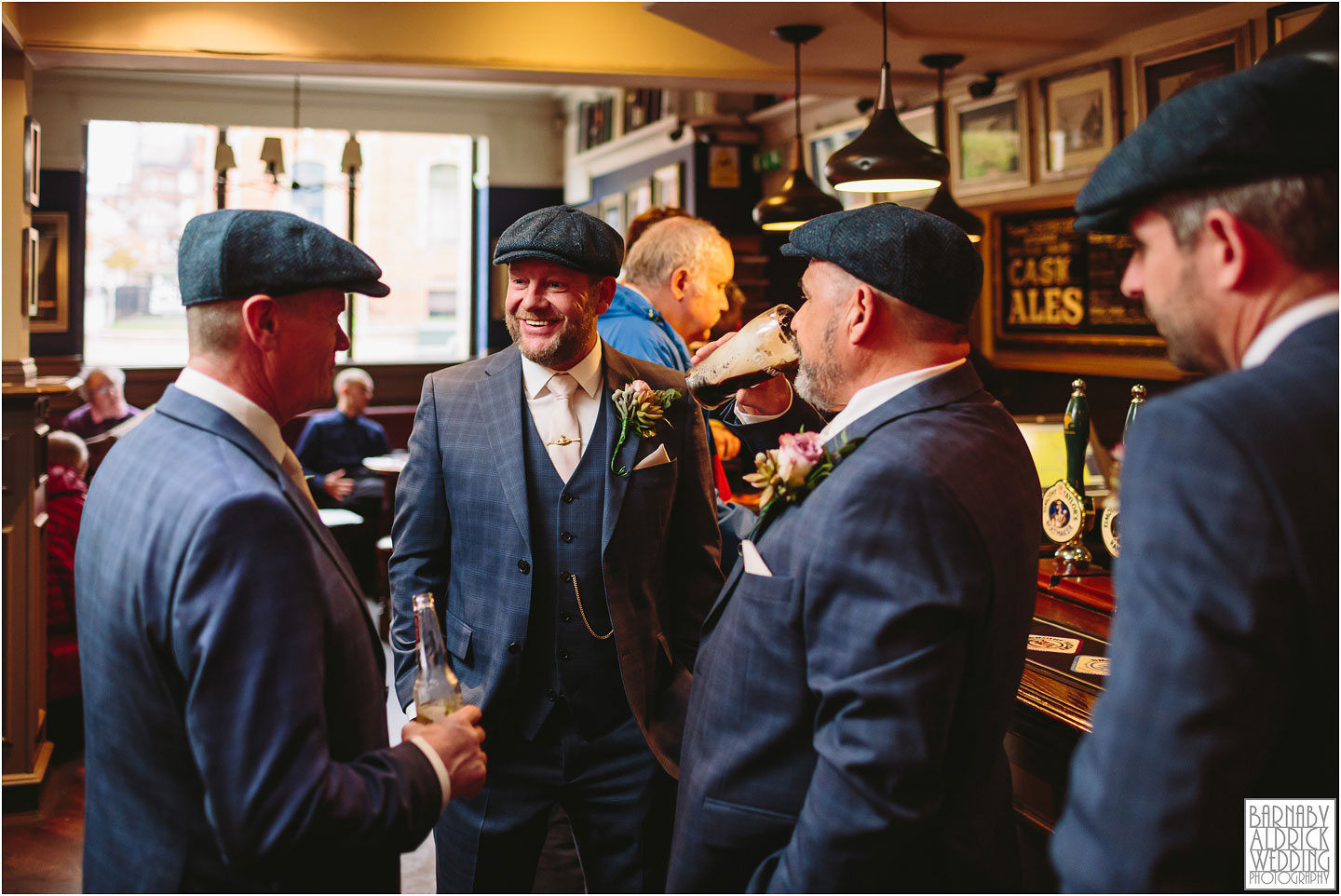 Peaky blinders groomsmen in a pub, Small Civil Ceremony at Leeds Town Hall, Leeds city centre wedding photos