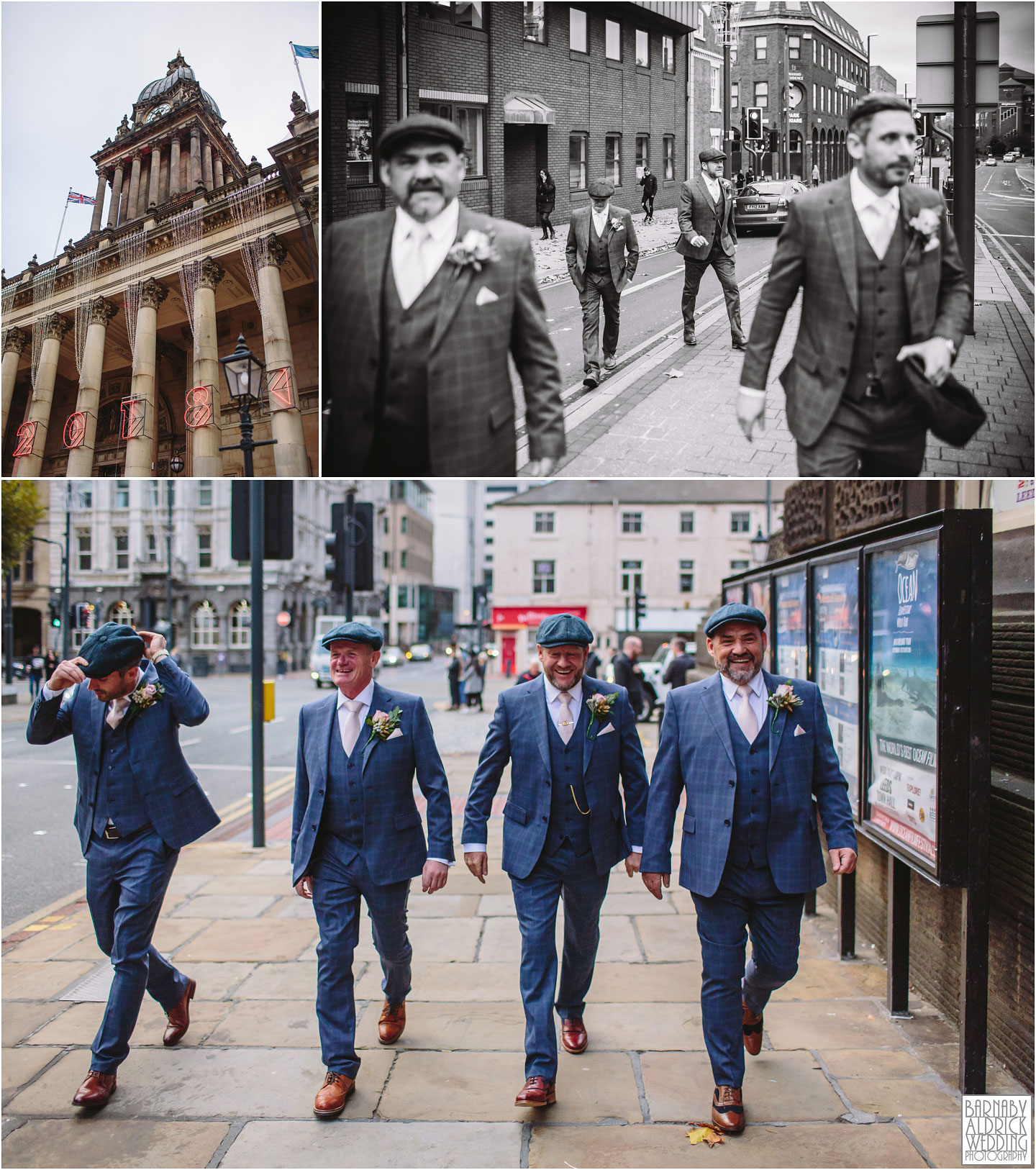 Peaky blinders groomsmen, Small Civil Ceremony at Leeds Town Hall, Leeds city centre wedding photos