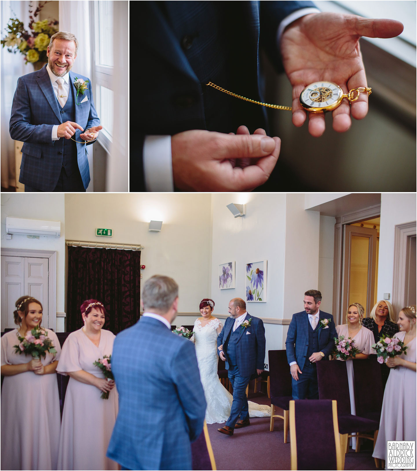 tiny Civil Ceremony at Leeds Town Hall, Leeds city centre autumn wedding photos, Peaky blinders wedding pocket watch