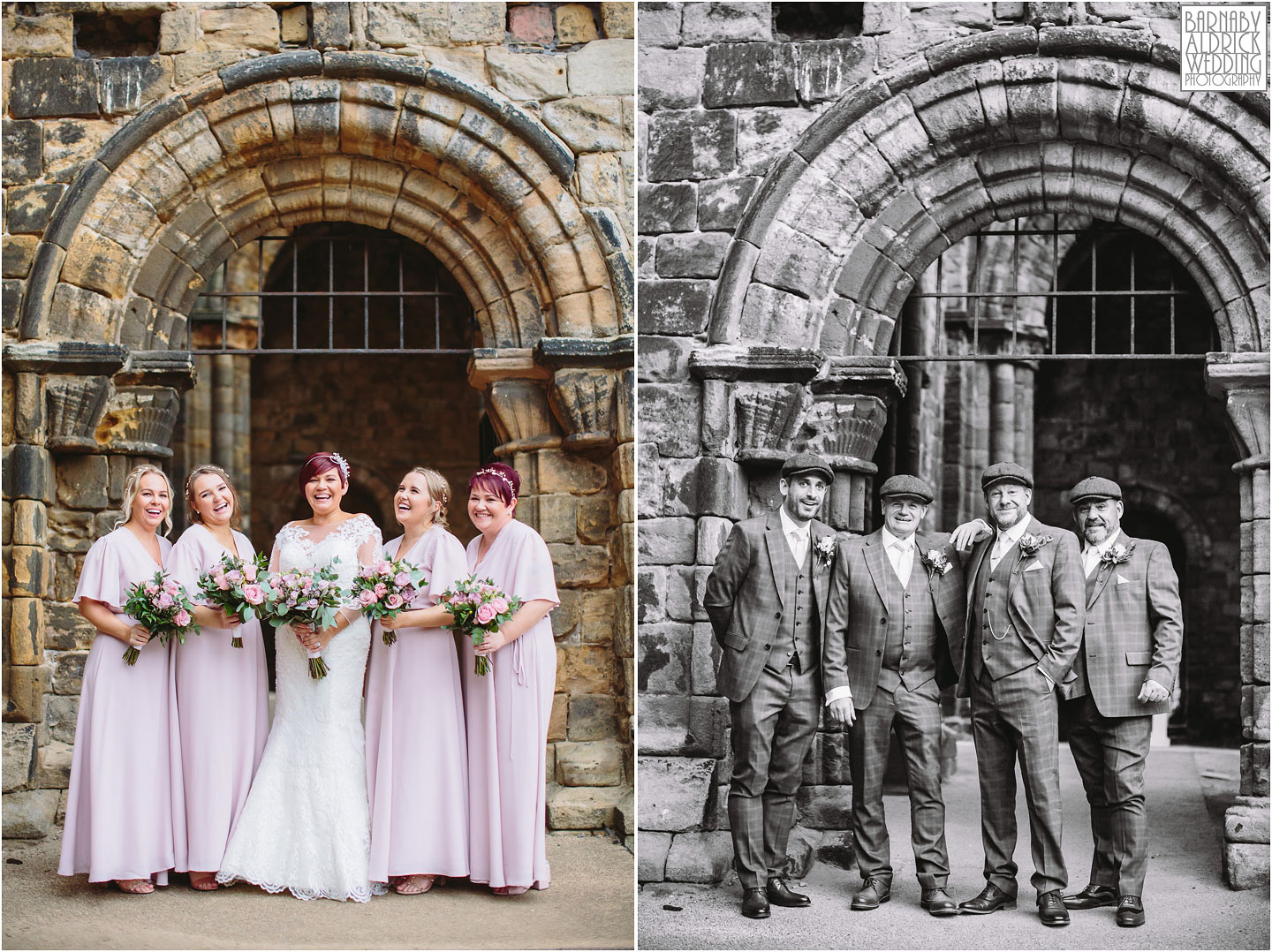 Wedding party bridesmaid groomsmen portraits at Kirkstall Abbey Leeds, Kirkstall Abbey Wedding photos