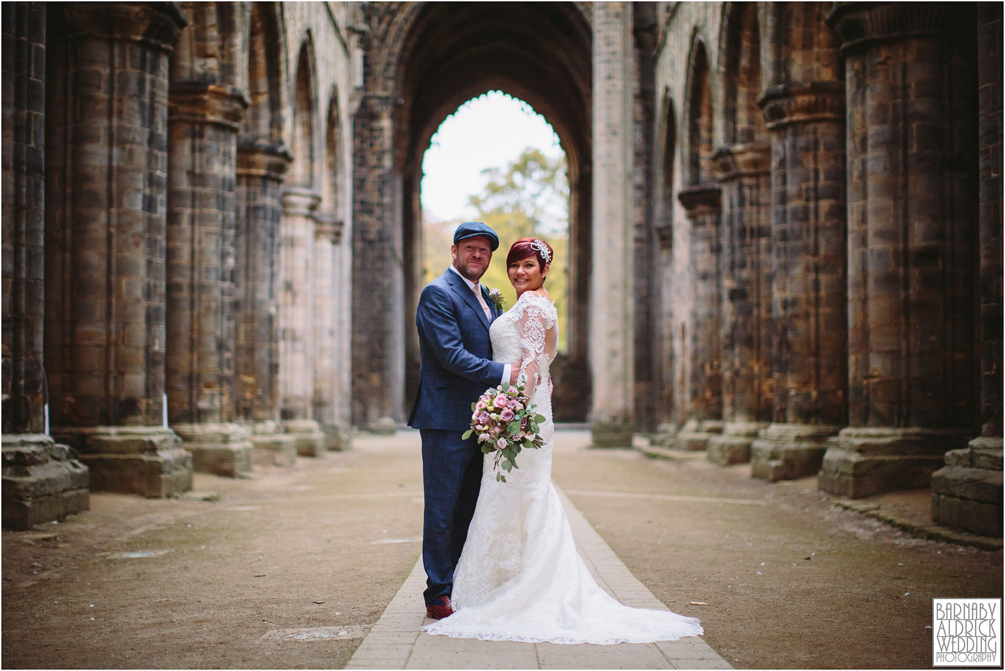 Wedding couple portraits at Kirkstall Abbey Leeds, Kirkstall Abbey Wedding photos