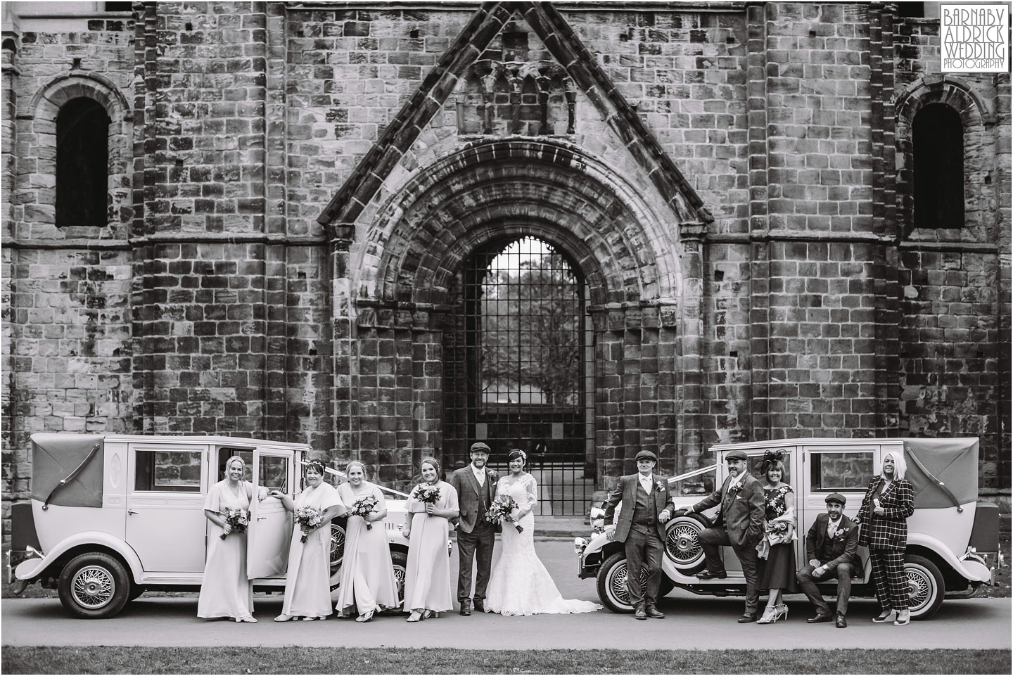 Peaky Blinders wedding, Vintage car portrait at Kirkstall Abbey Leeds, unusual Leeds wedding reception venues,