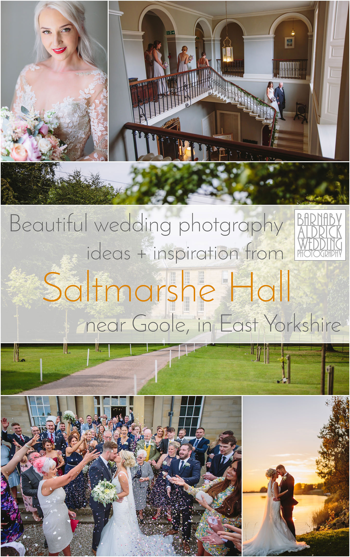 A collage of wedding photos from Saltmarshe Hall near Goole in East Yorkshire, Wedding photography at Saltmarshe Hall, East Yorkshire Wedding Photographer, sapphire Ceremonies in Yorkshire