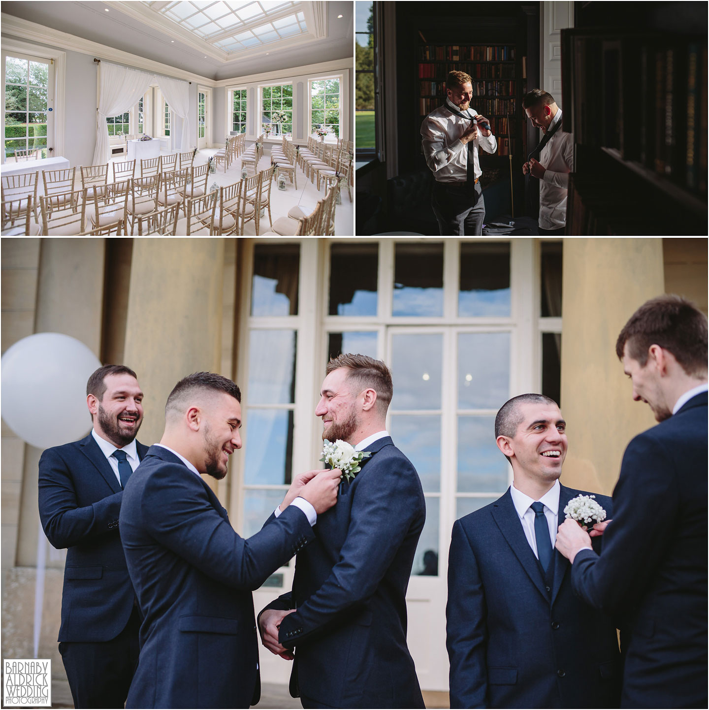 Groomsmen preparation photos at Saltmarshe Hall near Goole in East Yorkshire, Wedding photography at Saltmarshe Hall, East Yorkshire Wedding Photographer