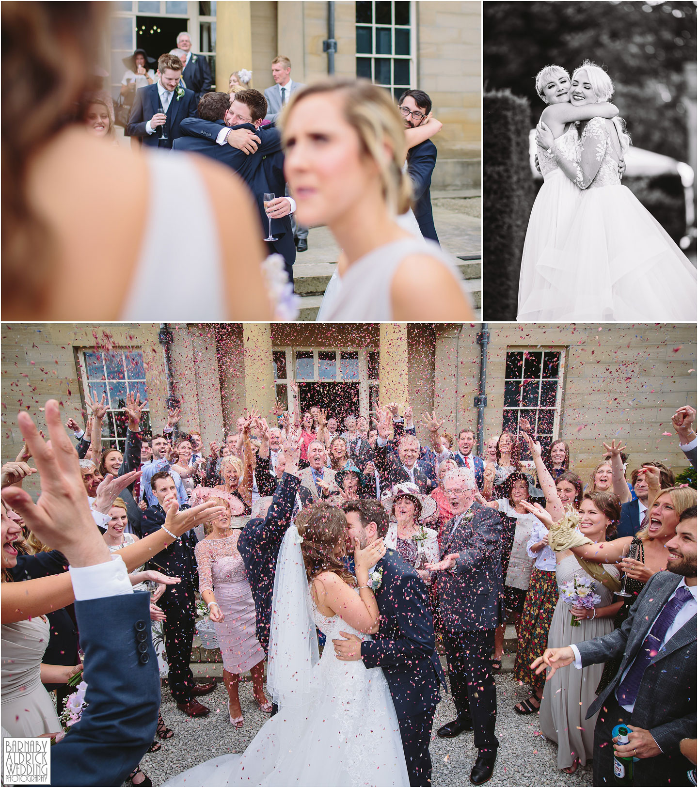 Hugs and Confetti at Saltmarshe Hall near Goole in East Yorkshire, Wedding photography at Saltmarshe Hall, East Yorkshire Wedding Photographer