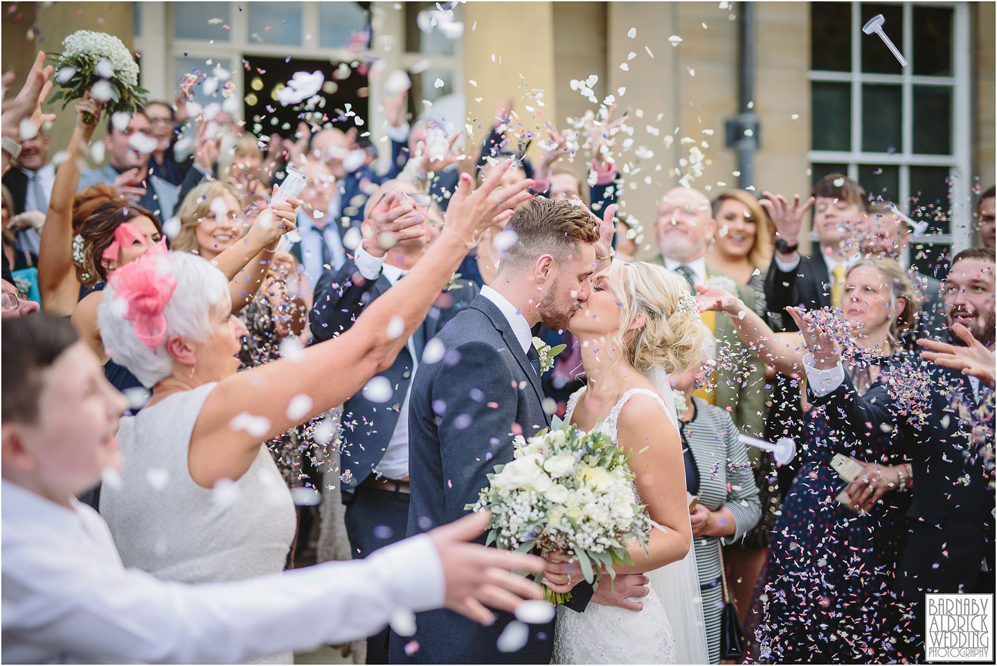 A confetti moment at Saltmarshe Hall near Goole in East Yorkshire, Wedding photography at Saltmarshe Hall, East Yorkshire Wedding Photographer Barnaby Aldrick