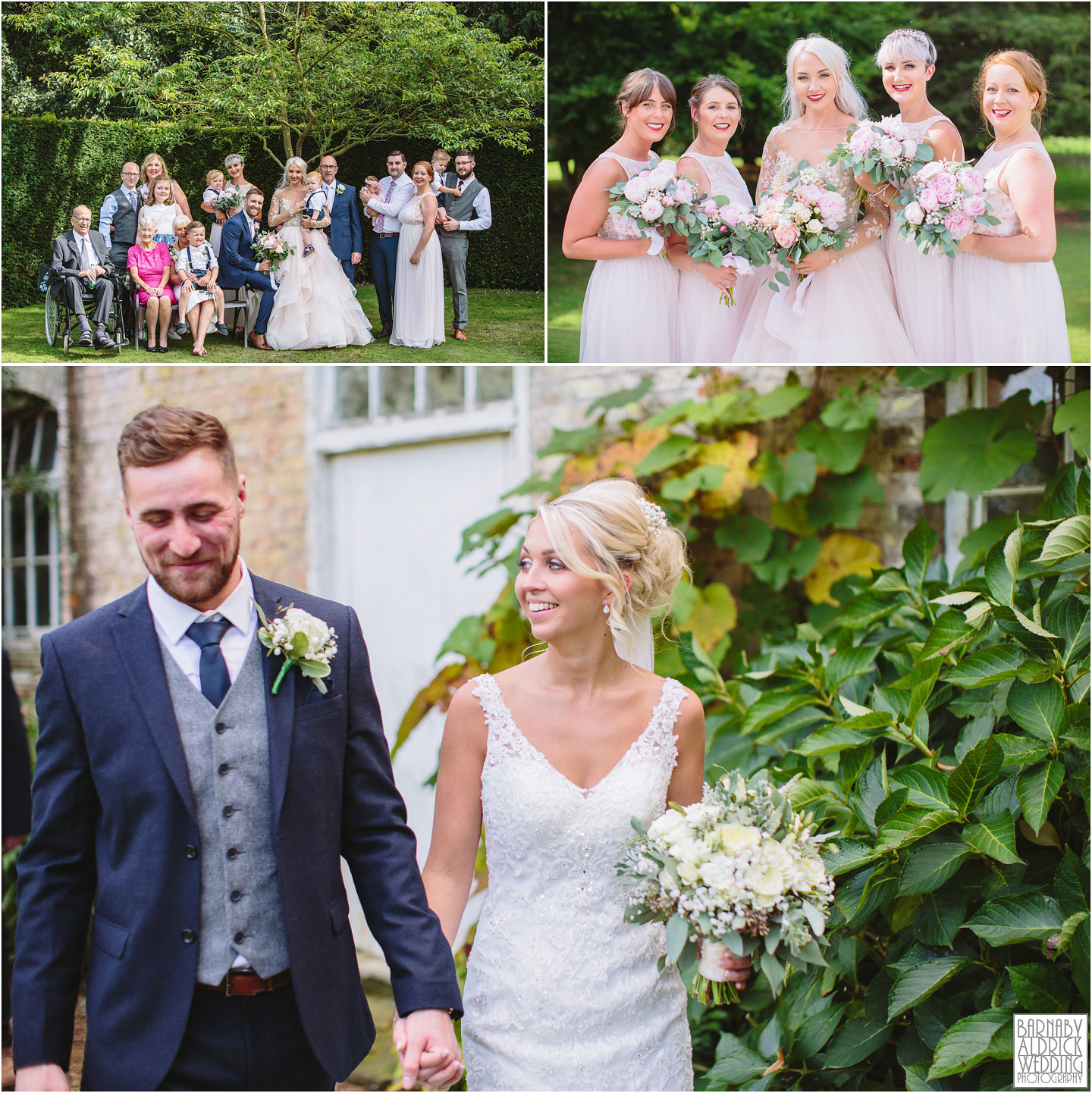 Bridal party portraits and groupshots A confetti moment at Saltmarshe Hall near Goole in East Yorkshire, Wedding photography at Saltmarshe Hall, East Yorkshire Wedding Photographer Barnaby Aldrick