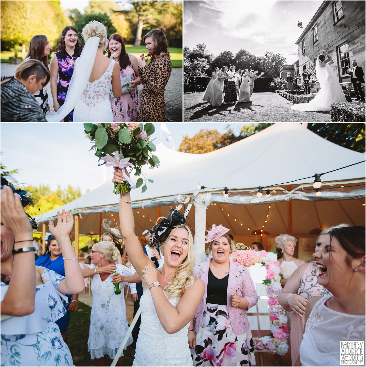 Throwing the bouquet at Saltmarshe Hall near Goole in East Yorkshire, Wedding photography at Saltmarshe Hall, East Yorkshire Wedding Photographer Barnaby Aldrick