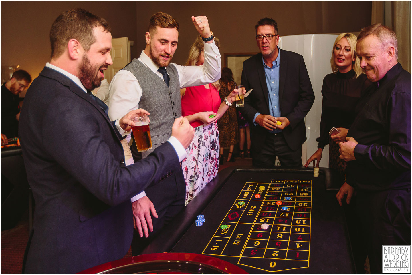 Evening roulette and blackjack tables at Saltmarshe Hall near Goole in East Yorkshire, Wedding photography at Saltmarshe Hall, East Yorkshire Wedding Photographer Barnaby Aldrick