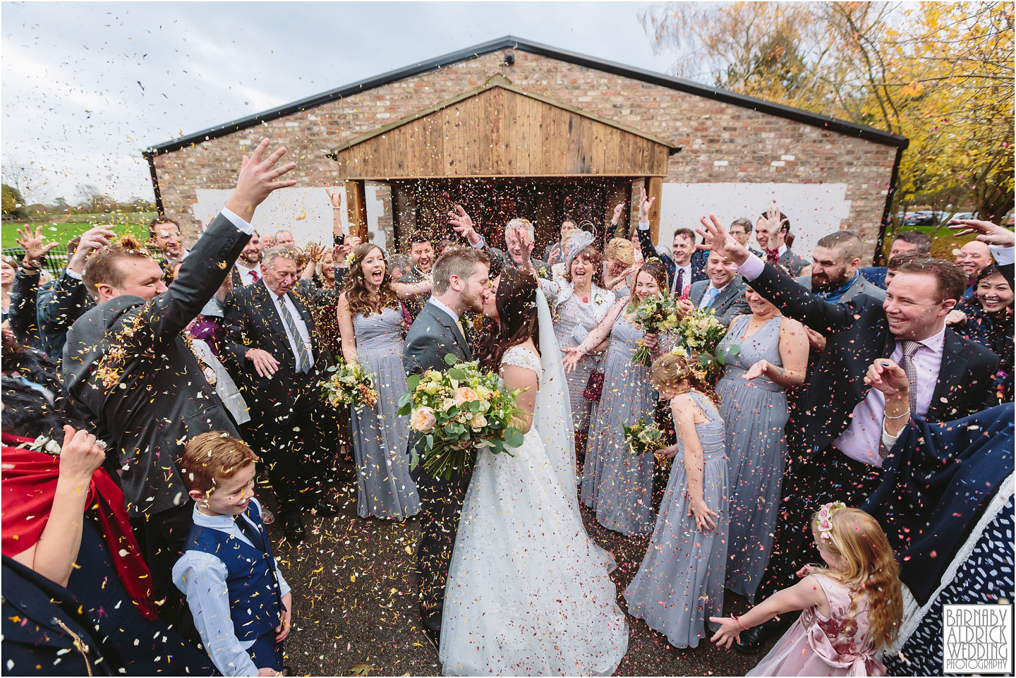 Confetti Photo at Villa Farm Wedding Photos, York unusual wedding venues, York Barn wedding venue, York Barn wedding at Villa Farm