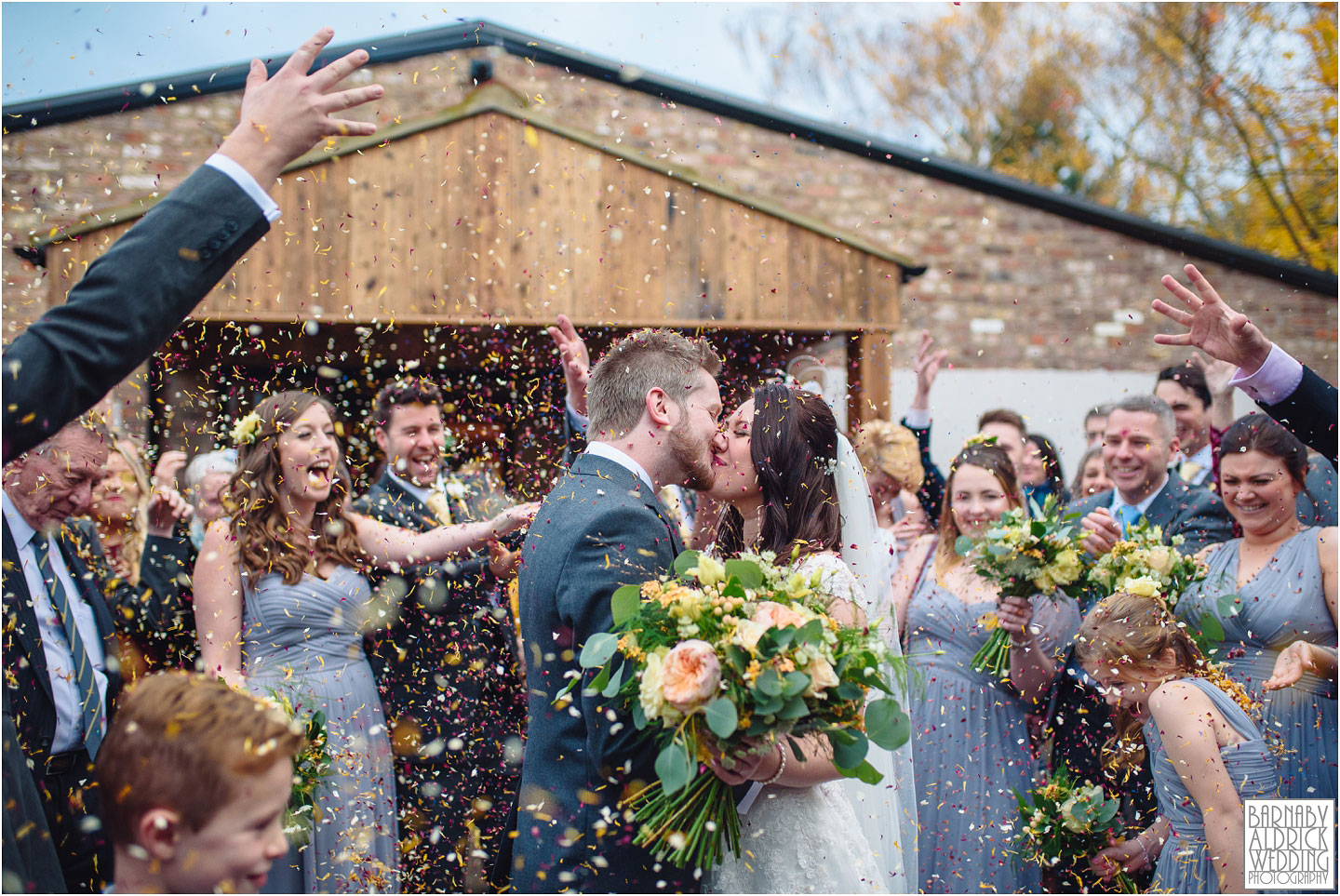 Confetti at Villa Farm Wedding Photos, York unusual wedding venues, York Barn wedding venue, York Barn wedding at Villa Farm