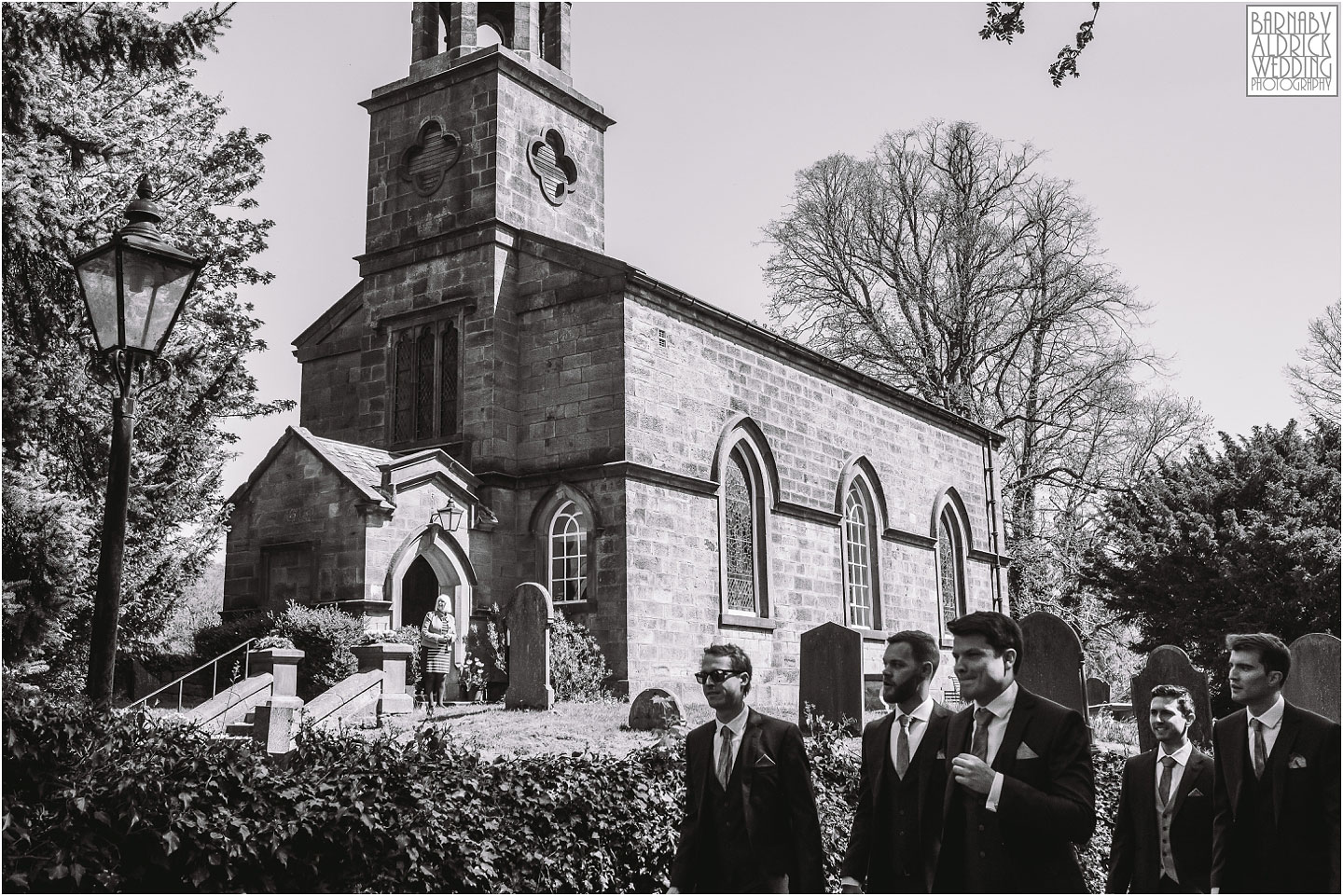 Groomsmen arrive at the church near Denton Hall, Amazing Ilkley Wedding Photos, Best Yorkshire Wedding Photos 2018