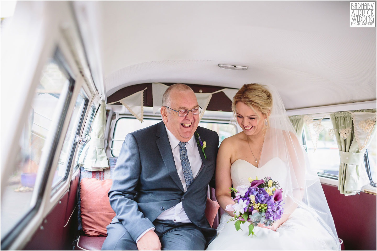 Camper van wedding photo on the way to a standedge tunnel ceremony, Marsden Wedding, Amazing Yorkshire Wedding Photos, Best Yorkshire Wedding Photos 2018