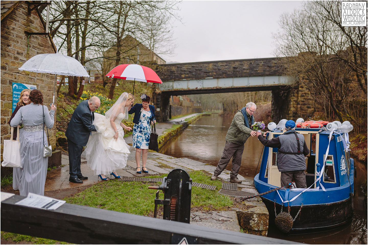 Canal boat wedding photo on the way to a standedge tunnel ceremony, Marsden Wedding, Amazing Yorkshire Wedding Photos, Best Yorkshire Wedding Photos 2018