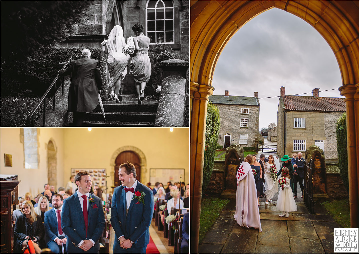 The arrival of the bride at a church in Denton, Amazing Yorkshire Wedding Photos, Best Yorkshire Wedding Photos 2018