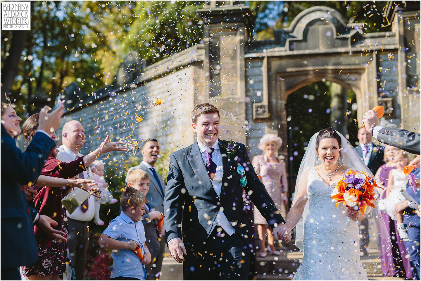 Amazing Confetti photo at Thornbridge Hall, Amazing Derbyshire Wedding Photos, Best Yorkshire Wedding Photos 2018